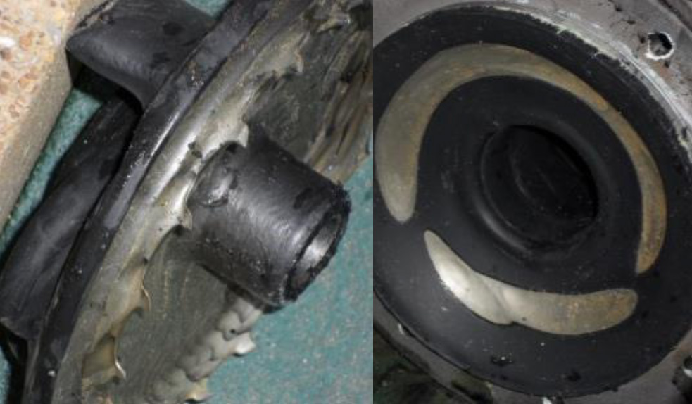 Impeller and casing of pump with rubber lining